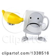 Clipart Of A 3d Unhappy Coffee Mug Character Holding And Pointing To A Banana Royalty Free Illustration