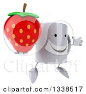 Clipart Of A 3d Happy Coffee Mug Character Holding A Strawberry Facing Right And Jumping Royalty Free Illustration