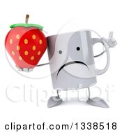 Clipart Of A 3d Unhappy Coffee Mug Character Holding Up A Finger And A Strawberry Royalty Free Illustration