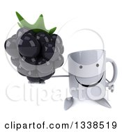 Clipart Of A 3d Happy Coffee Mug Character Holding Up A Blackberry Royalty Free Illustration