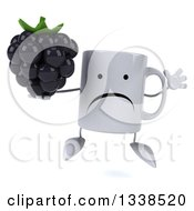Clipart Of A 3d Unhappy Coffee Mug Character Holding A Blackberry And Jumping Royalty Free Illustration