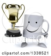 Clipart Of A 3d Happy Coffee Mug Character Holding A Trophy Royalty Free Illustration
