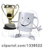 Clipart Of A 3d Happy Coffee Mug Character Shrugging And Holding A Trophy Royalty Free Illustration
