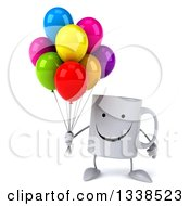 Clipart Of A 3d Happy Coffee Mug Character Holding Party Balloons Royalty Free Illustration