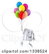 Clipart Of A 3d Happy Coffee Mug Character Floating And Holding Party Balloons Royalty Free Illustration