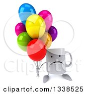 Clipart Of A 3d Unhappy Coffee Mug Character Holding Up Party Balloons Royalty Free Illustration