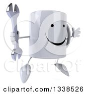 Clipart Of A 3d Happy Coffee Mug Character Facing Slightly Right Jumping And Holding A Wrench Royalty Free Illustration