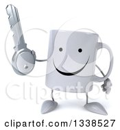 Clipart Of A 3d Happy Coffee Mug Character Holding A Key Royalty Free Illustration