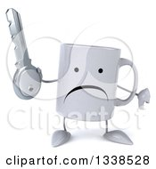 Clipart Of A 3d Unhappy Coffee Mug Character Holding A Key And Giving A Thumb Down Royalty Free Illustration