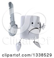 Clipart Of A 3d Unhappy Coffee Mug Character Facing Slightly Right Jumping And Holding A Key Royalty Free Illustration by Julos
