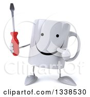 Clipart Of A 3d Happy Coffee Mug Character Holding And Pointing To A Screwdriver Royalty Free Illustration