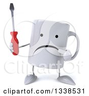 Clipart Of A 3d Unhappy Coffee Mug Character Holding And Pointing To A Screwdriver Royalty Free Illustration