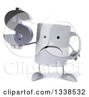 Clipart Of A 3d Unhappy Coffee Mug Character Holding A Dollar Currency Symbol Royalty Free Illustration