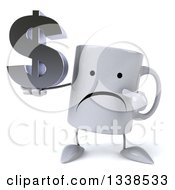 Clipart Of A 3d Unhappy Coffee Mug Character Holding And Pointing To A Dollar Currency Symbol Royalty Free Illustration by Julos