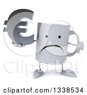Clipart Of A 3d Unhappy Coffee Mug Character Holding A Euro Currency Symbol And Giving A Thumb Down Royalty Free Illustration