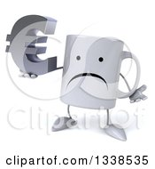 Clipart Of A 3d Unhappy Coffee Mug Character Holding A Euro Currency Symbol And Shrugging Royalty Free Illustration
