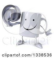 Clipart Of A 3d Happy Coffee Mug Character Shrugging And Holding An Email Arobase At Symbol Royalty Free Illustration