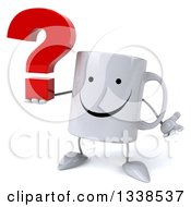 Clipart Of A 3d Happy Coffee Mug Character Shrugging And Holding A Question Mark Royalty Free Illustration