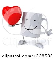 Clipart Of A 3d Happy Coffee Mug Character Shrugging And Holding A A Red Love Heart Royalty Free Illustration