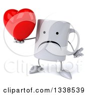 Clipart Of A 3d Unhappy Coffee Mug Character Shrugging And Holding A A Red Love Heart Royalty Free Illustration