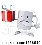 Clipart Of A 3d Unhappy Coffee Mug Character Shrugging And Holding A Gift Royalty Free Illustration