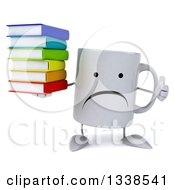 Clipart Of A 3d Unhappy Coffee Mug Character Giving A Thumb And Holding A Stack Of Books Royalty Free Illustration