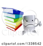 Clipart Of A 3d Unhappy Coffee Mug Character Holding Up A Thumb And A Stack Of Books Royalty Free Illustration by Julos