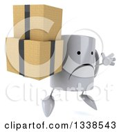 Clipart Of A 3d Unhappy Coffee Mug Character Facing Slightly Right Jumping And Holding Boxes Royalty Free Illustration