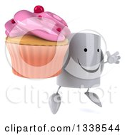 Clipart Of A 3d Happy Coffee Mug Character Facing Slightly Right Jumping And Holding A Pink Frosted Cupcake Royalty Free Illustration