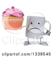 Clipart Of A 3d Unhappy Coffee Mug Character Holding A Pink Frosted Cupcake Royalty Free Illustration