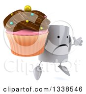Clipart Of A 3d Unhappy Coffee Mug Character Facing Slightly Right Jumping And Holding A Chocolate Frosted Cupcake Royalty Free Illustration