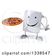 Clipart Of A 3d Happy Coffee Mug Character Shrugging And Holding A Pizza Royalty Free Illustration
