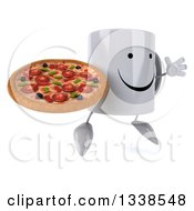Clipart Of A 3d Happy Coffee Mug Character Facing Slightly Right Jumping And Holding A Pizza Royalty Free Illustration