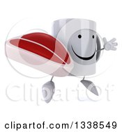 Clipart Of A 3d Happy Coffee Mug Character Facing Slightly Right Jumping And Holding A Beef Steak Royalty Free Illustration
