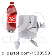 Clipart Of A 3d Unhappy Coffee Mug Character Facing Slightly Right Jumping And Holding A Soda Bottle Royalty Free Illustration