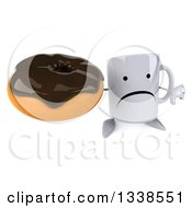 Clipart Of A 3d Unhappy Coffee Mug Character Holding Up A Thumb Down And Chocolate Glazed Donut Royalty Free Illustration