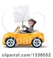 Clipart Of A 3d 3d Chimpanzee Monkey Holding A Blank Sign And Driving A Yellow Convertible Car Royalty Free Illustration