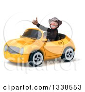 Clipart Of A 3d 3d Chimpanzee Monkey Giving A Thumb Up And Driving A Yellow Convertible Car Royalty Free Illustration