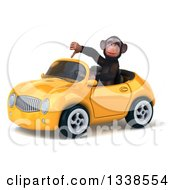 Clipart Of A 3d 3d Chimpanzee Monkey Giving A Thumb Down And Driving A Yellow Convertible Car Royalty Free Illustration