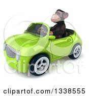 Clipart Of A 3d 3d Chimpanzee Monkey Driving A Green Convertible Car 2 Royalty Free Illustration