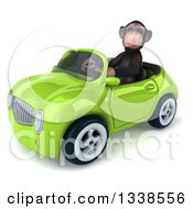 Clipart Of A 3d 3d Chimpanzee Monkey Driving A Green Convertible Car 3 Royalty Free Illustration