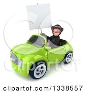 Clipart Of A 3d 3d Chimpanzee Monkey Holding A Blank Sign And Driving A Green Convertible Car Royalty Free Illustration