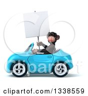 Clipart Of A 3d 3d Chimpanzee Monkey Wearing Sunglasses Holding A Blank Sign And Driving A Blue Convertible Car Royalty Free Illustration
