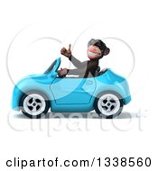 Clipart Of A 3d 3d Chimpanzee Monkey Wearing Sunglasses Giving A Thumb Up And Driving A Blue Convertible Car Royalty Free Illustration