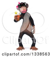 Clipart Of A 3d Female Chimp Drinking A Beverage Royalty Free Illustration