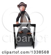 Clipart Of A 3d Chimpanzee Monkey Walking On A Treadmill 2 Royalty Free Illustration