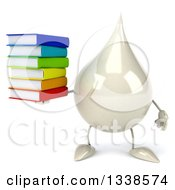 Clipart Of A 3d Milk Lotion Shampoo Or Liquid Soap Drop Character Holding A Stack Of Books Royalty Free Illustration
