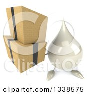 Clipart Of A 3d Milk Lotion Shampoo Or Liquid Soap Drop Character Holding Up Boxes Royalty Free Illustration
