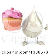 Clipart Of A 3d Milk Lotion Shampoo Or Liquid Soap Drop Character Holding A Pink Frosted Cupcake And Giving A Thumb Up Royalty Free Illustration