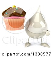 Clipart Of A 3d Milk Lotion Shampoo Or Liquid Soap Drop Character Holding And Pointing To A Chocolate Frosted Cupcake Royalty Free Illustration by Julos